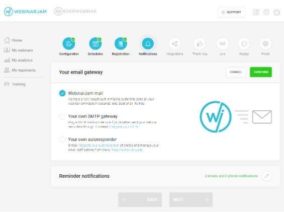 WebinarJam Email gateway