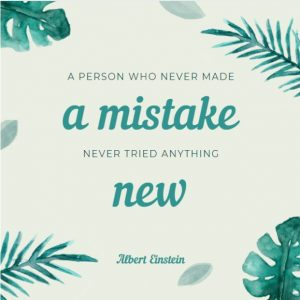 Inspirational motivational quote about mistakes and failures