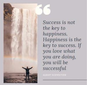 Inspirational motivational quote about success and happiness
