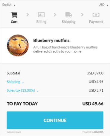 Kartra Checkouts Blueberyy muffins