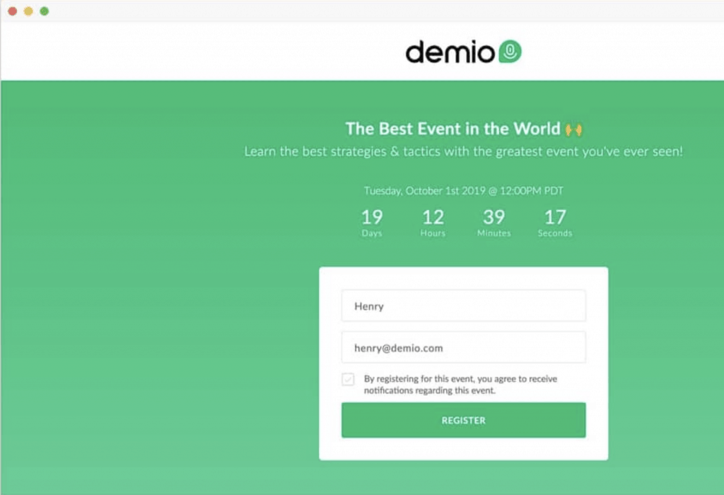 demio landing page