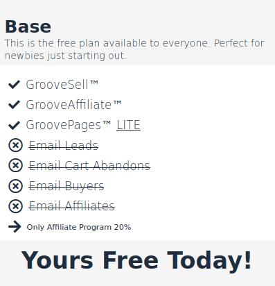 GrooveFunnels Base Plan (FREE)