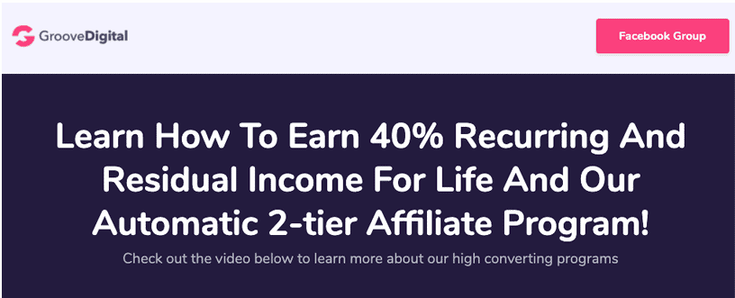 GrooveFunnels Affiliate Program Benefits page image