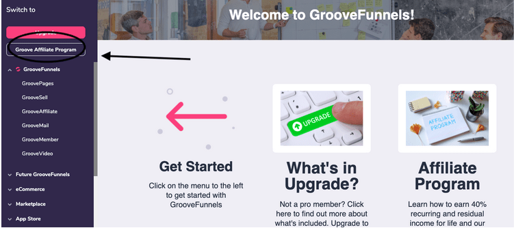 groove affiliate program option page image