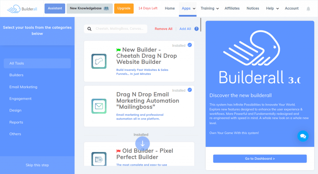 Builderall Apps Page