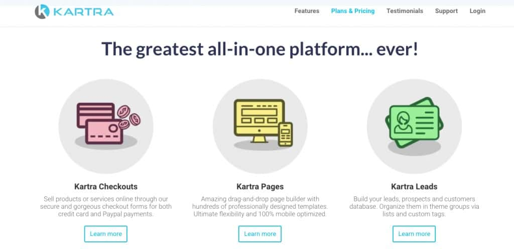Kartra Homepage