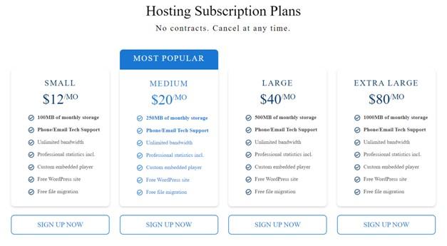 Blubrry Pricing Plans