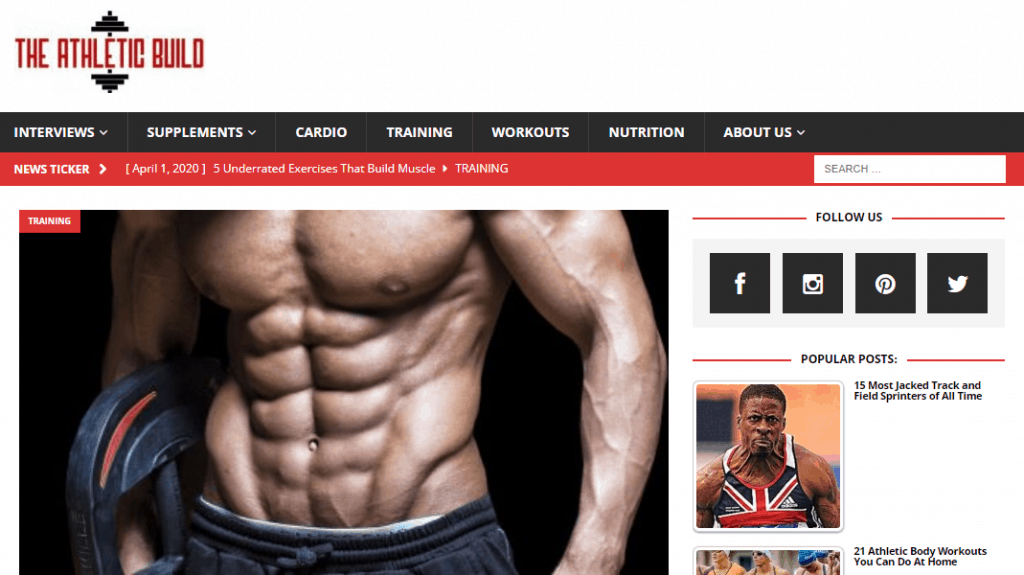 Athletic Build Website Page