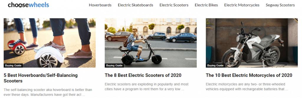 Choose Wheels Website Page