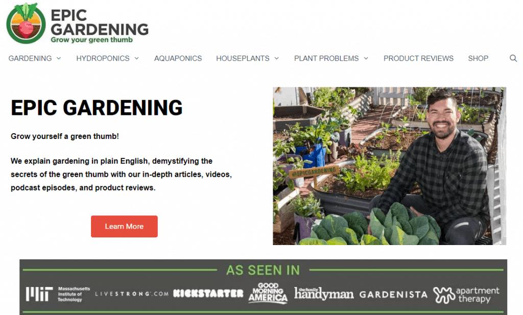 Epic Gardening Website Page