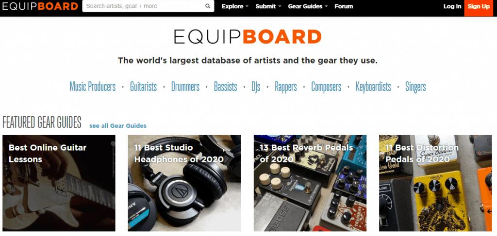 Equipboard Website Page