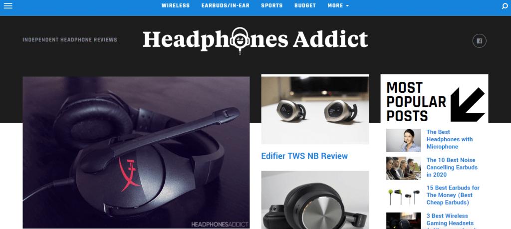 Headphones Addict Website Page