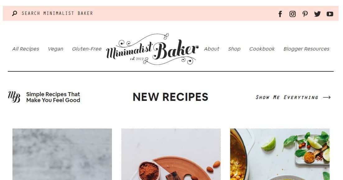 Minimalist Baker Website Page