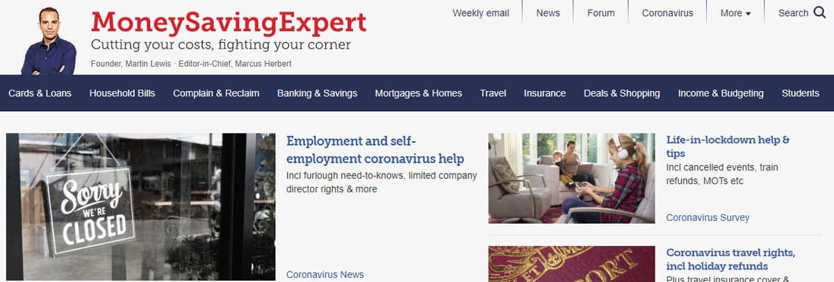 Money Saving Expert Website Page