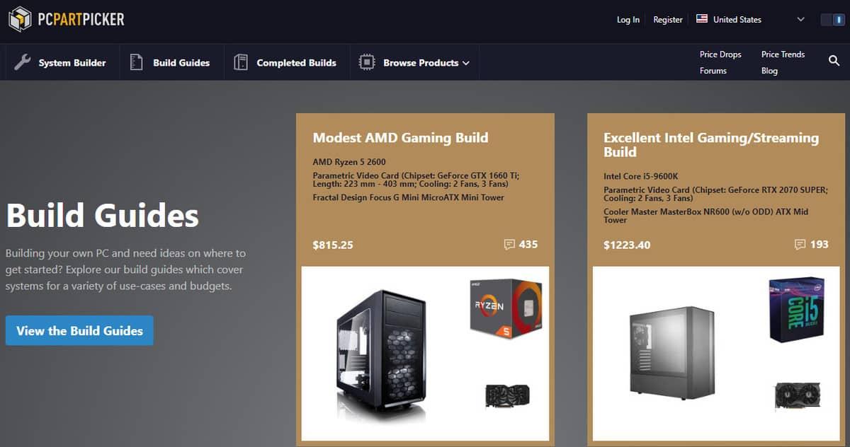 PC Part Maker Website Page