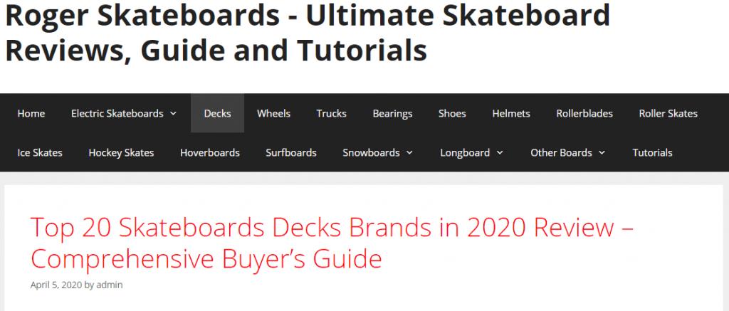 Roger Skateboards Generatig Page
