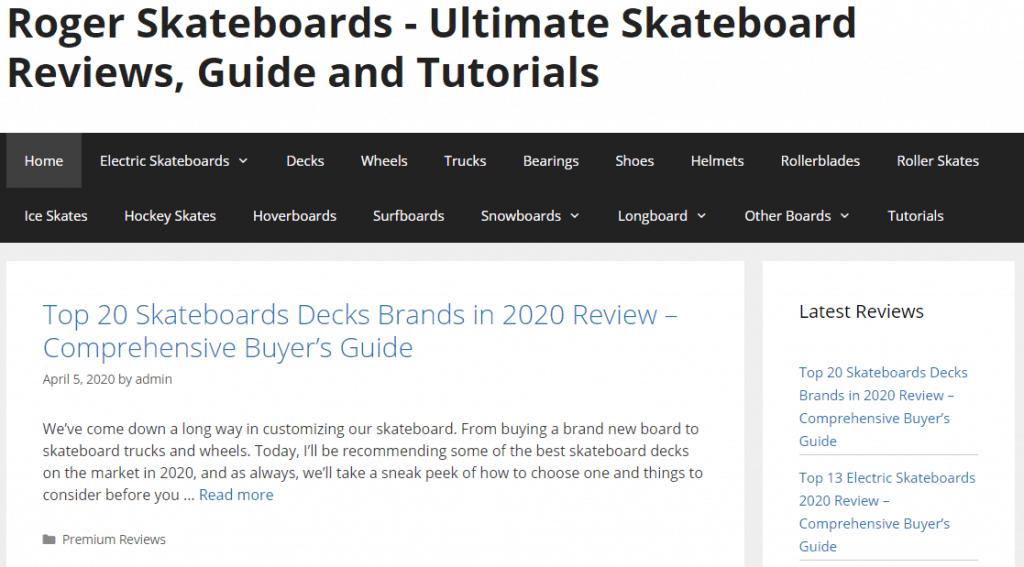 Roger Skateboards Website