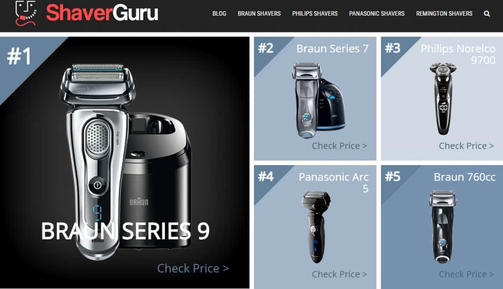 Shaver Guru Website Page