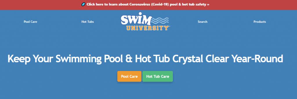 Swim University Website Page