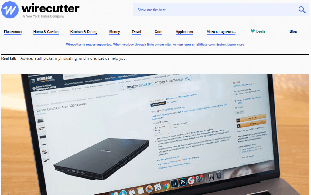 The WireCutter Website Page
