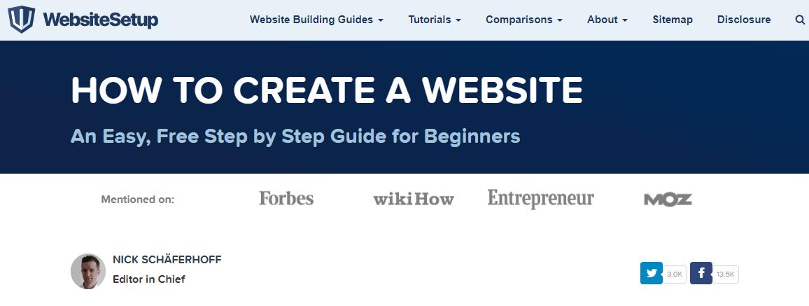 Website Setup Page