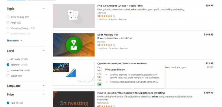 Udemy Course Search